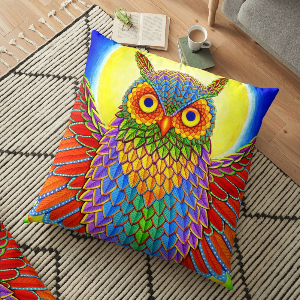 Colorful Psychedelic Rainbow Owl Floor Pillow