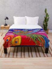 Fenghuang Chinese Phoenix Rainbow Bird Throw Blanket