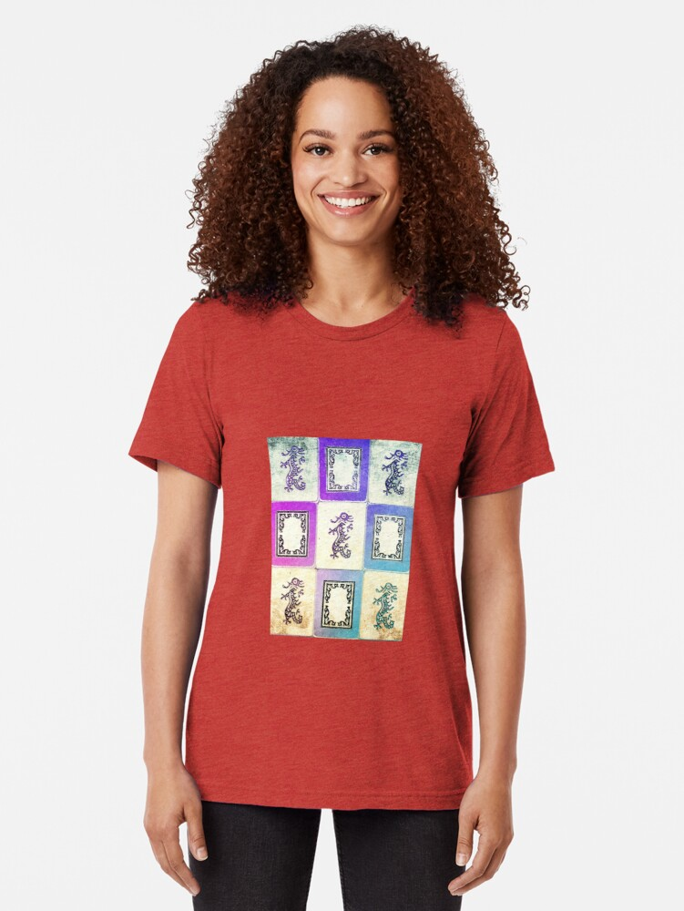 "Alternate view of ""Dragon Lady"" Mah Jongg - version two Tri-blend T-Shirt"