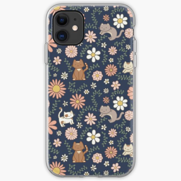 Flower Meower (Navy) iPhone Soft Case