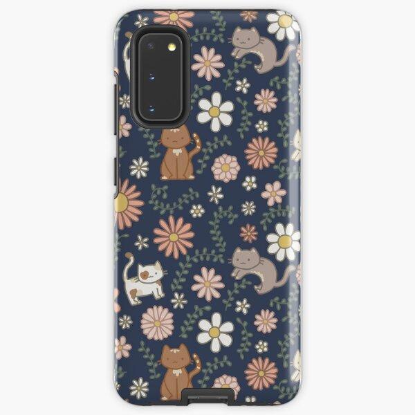 Flower Meower (Navy) Samsung Galaxy Tough Case