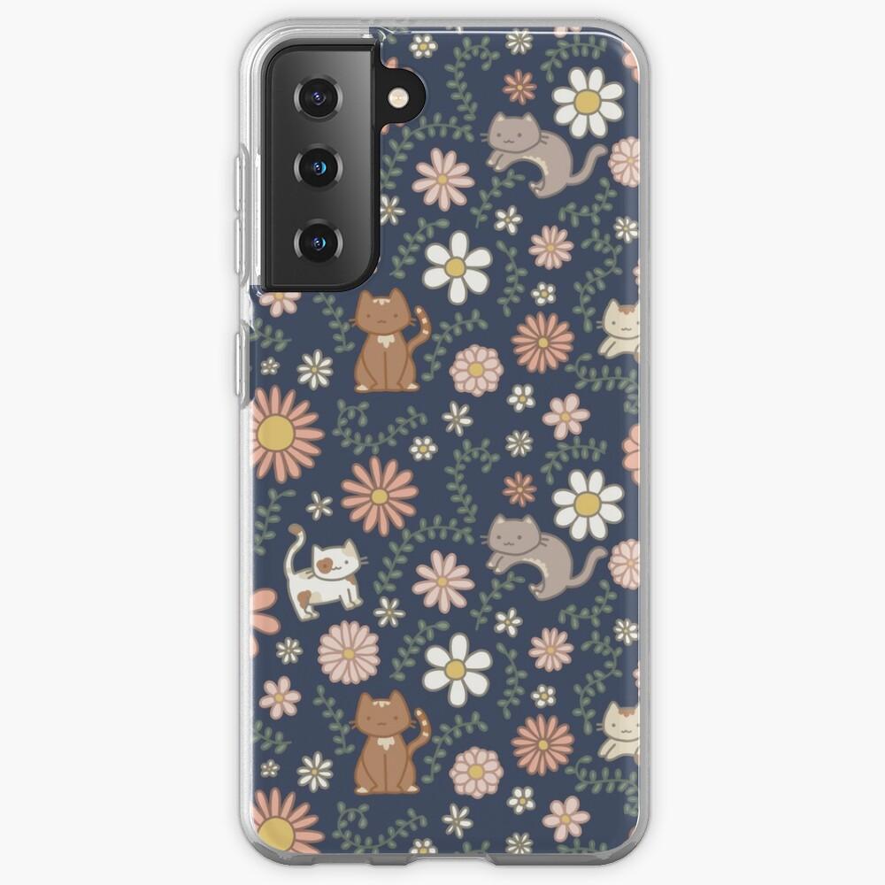 Flower Meower (Navy) Case & Skin for Samsung Galaxy