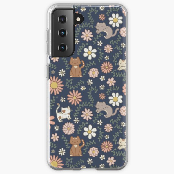 Flower Meower (Navy) Samsung Galaxy Soft Case