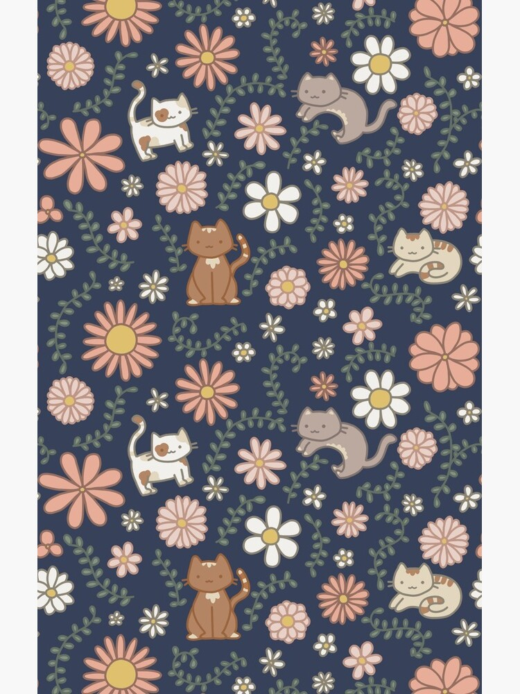 Flower Meower (Navy) by maddidoodles