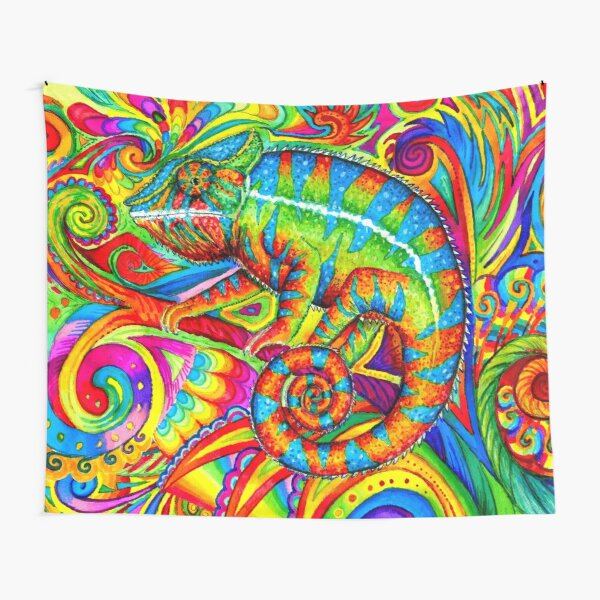 Psychedelizard Psychedelic Chameleon Colorful Rainbow Lizard Tapestry