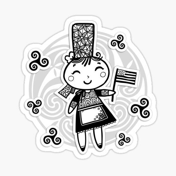 Bretonne avec drapeau et triskels celtiques Sticker