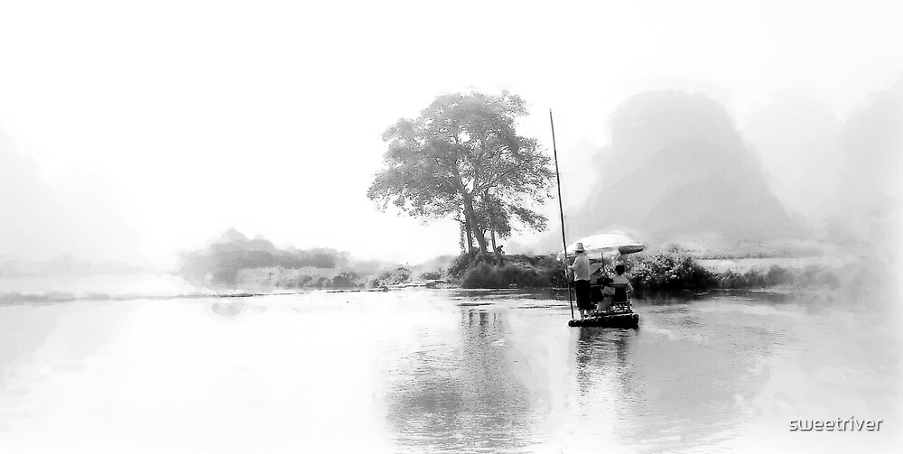 Ink Painting on China Yulong River by sweetriver