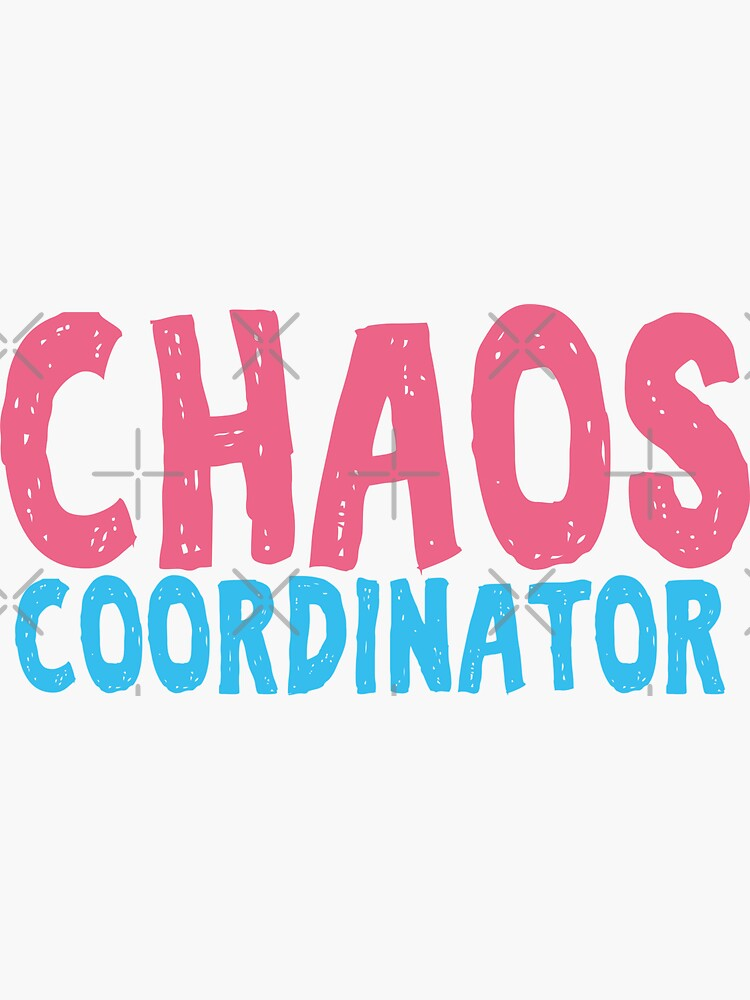 Chaos Coordinator teacher funny cute text in pink and blue colors teacher appreciation gift by alenaz