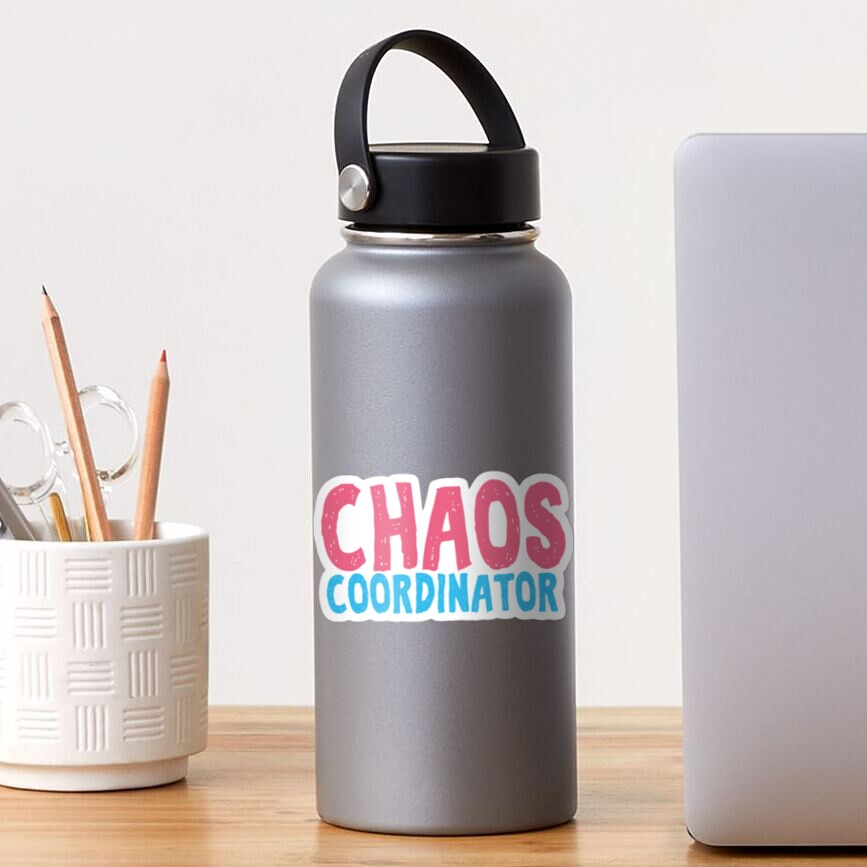 Chaos Coordinator teacher funny cute text in pink and blue colors teacher appreciation gift Sticker