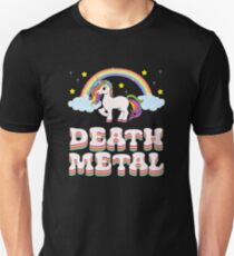 "A Perfect Gift Tee With An Illustration Of A Unicorn ""Death Metal"" T-shirt Design Rainbow Stars Clouds Slim Fit T-Shirt"