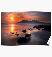 Sunset from Bay of Laig, Isle of Eigg, Scotland. Poster