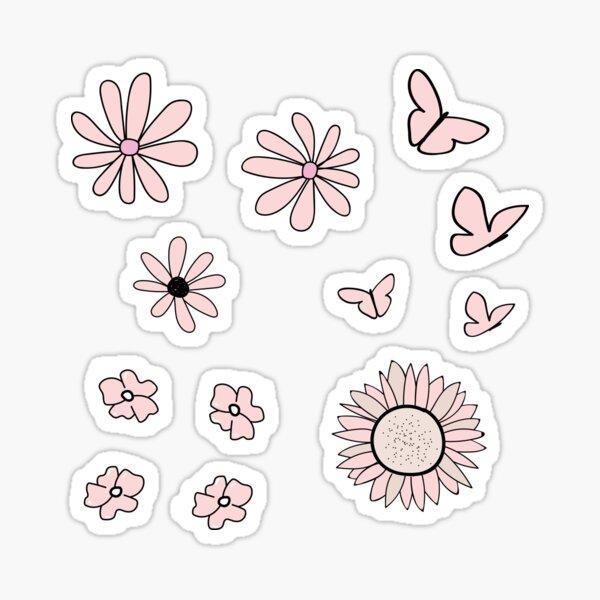 Light Peach Flower and Butterfly Sticker Pack Sticker