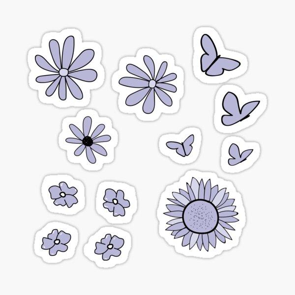 Light Purple Flower and Butterfly Sticker Pack Sticker