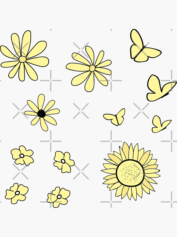 Light Yellow Flower and Butterfly Sticker Pack by The-Goods