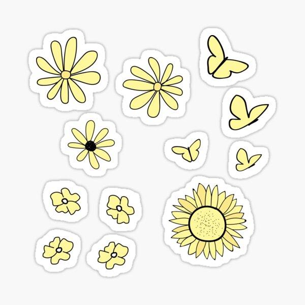 Light Yellow Flower and Butterfly Sticker Pack Sticker