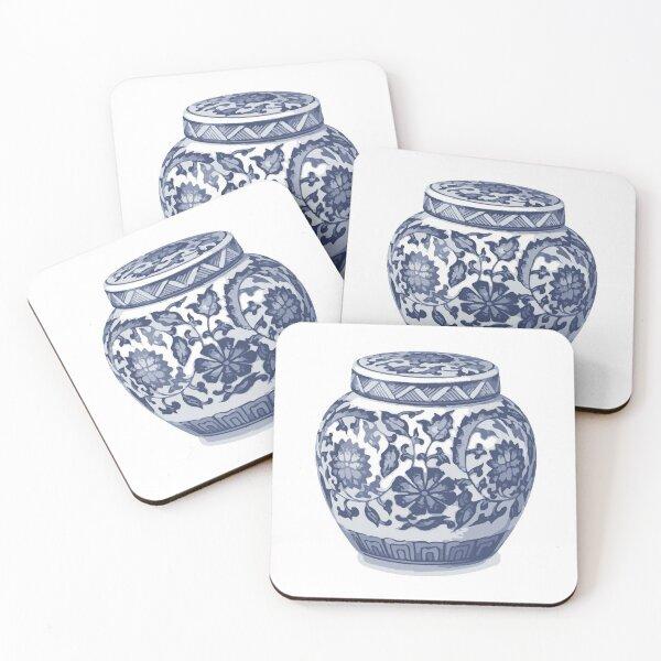 Indigo Blue White Hamptons Ginger Jar Chinoiserie Vase Art Coasters (Set of 4)