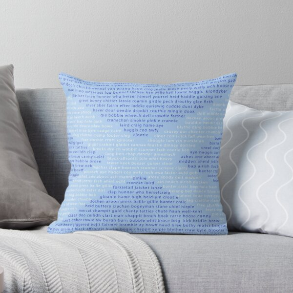 Scottish Words in a Saltire Throw Pillow