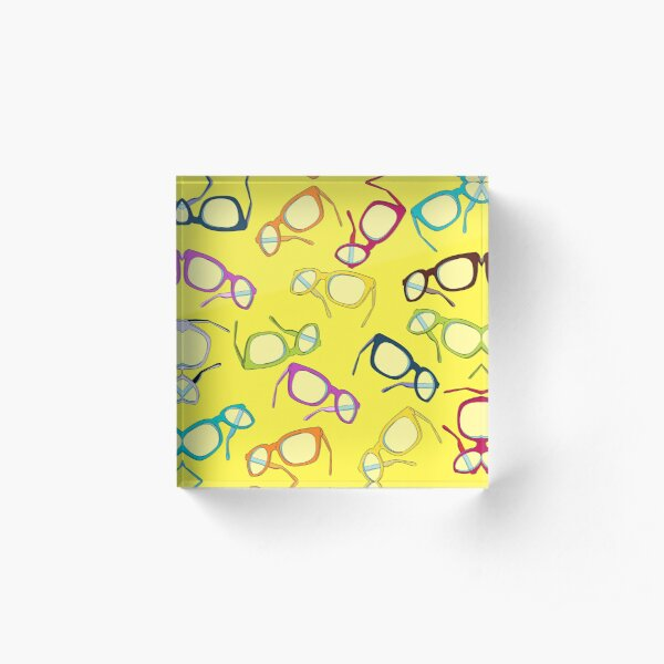 Hipster Glasses Acrylic Block