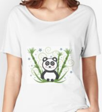 Cute Baby Panda Vector Illustration Women's Relaxed Fit T-Shirt