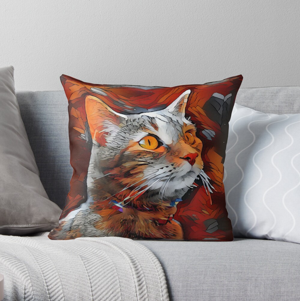 Striking Artistic Orange Low Poly Cat Throw Pillow