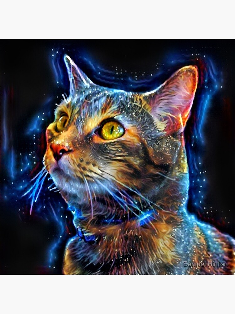 Cosmic Kitten - Abstract Digital Space Cat Painting by samreay