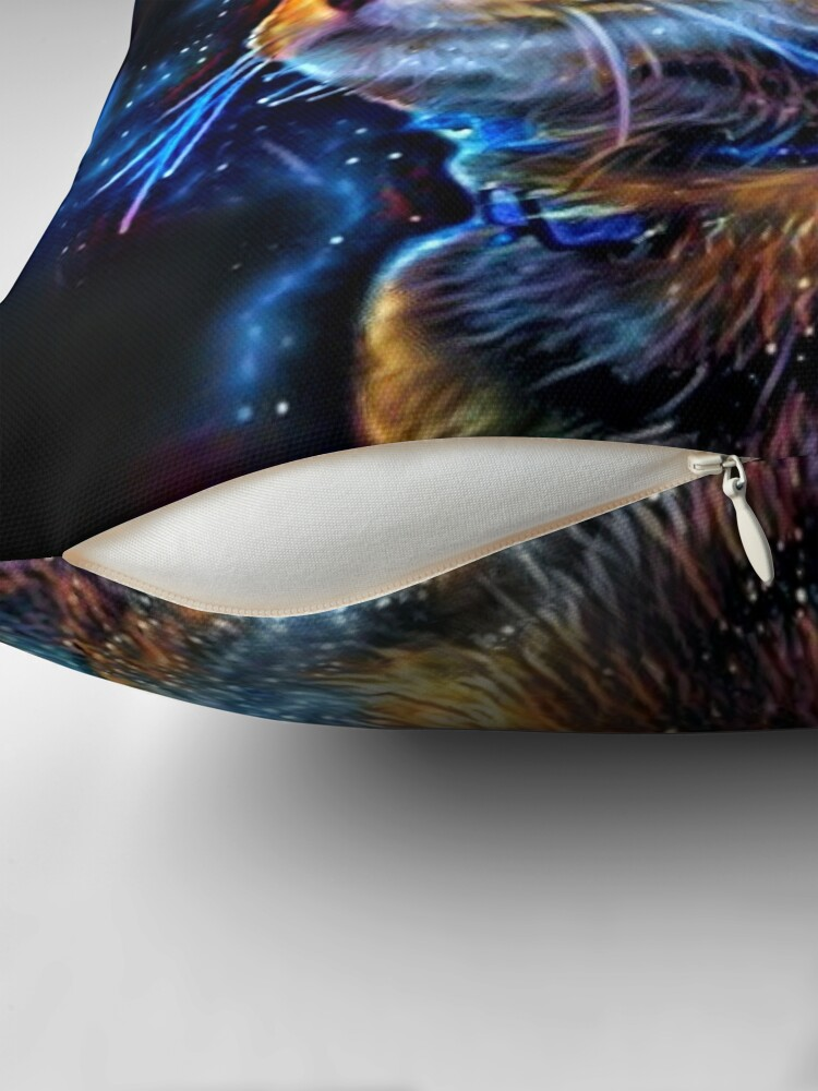 Alternate view of Cosmic Kitten - Abstract Digital Space Cat Painting Throw Pillow