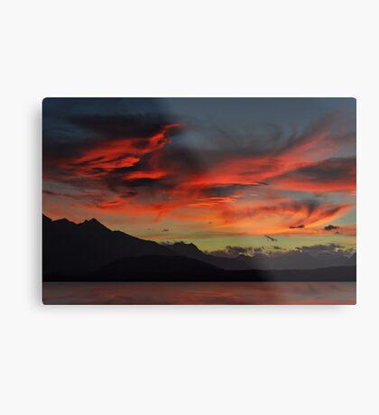 Sunset over Lake Manapouri Metal Print