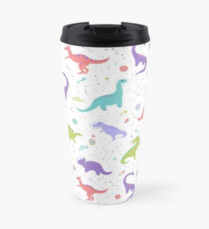 Space Dinosaurs on White Travel Mug