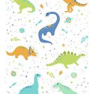 Space Dinosaurs on White (Orange + Blue) by latheandquill