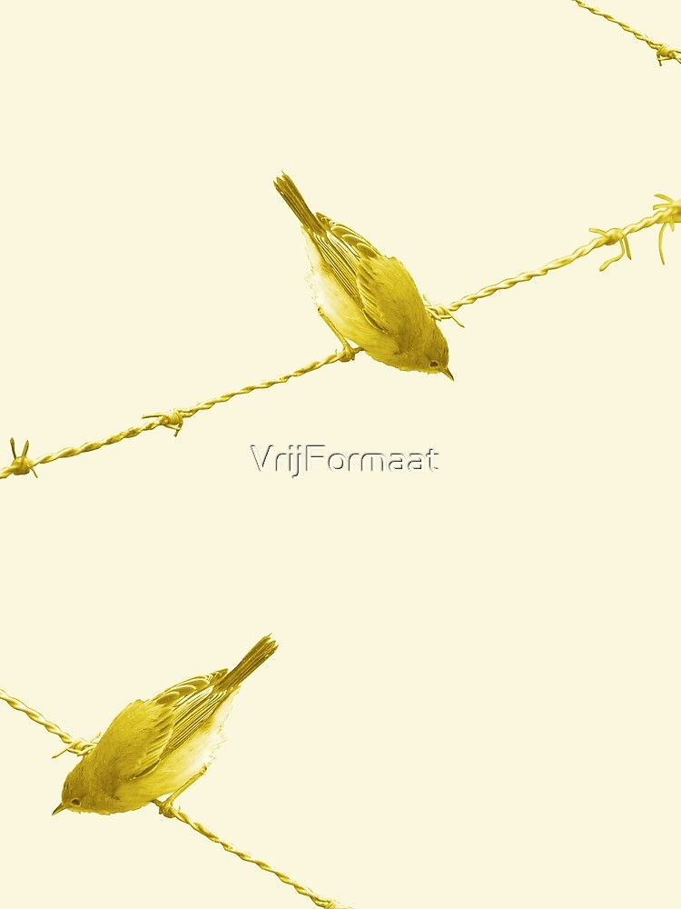 Monochrome - Yellow warblers on the wire by VrijFormaat