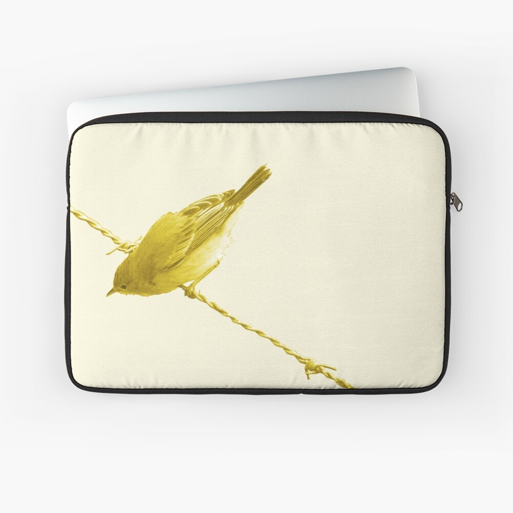 Monochrome - Yellow warblers on the wire Laptop Sleeve