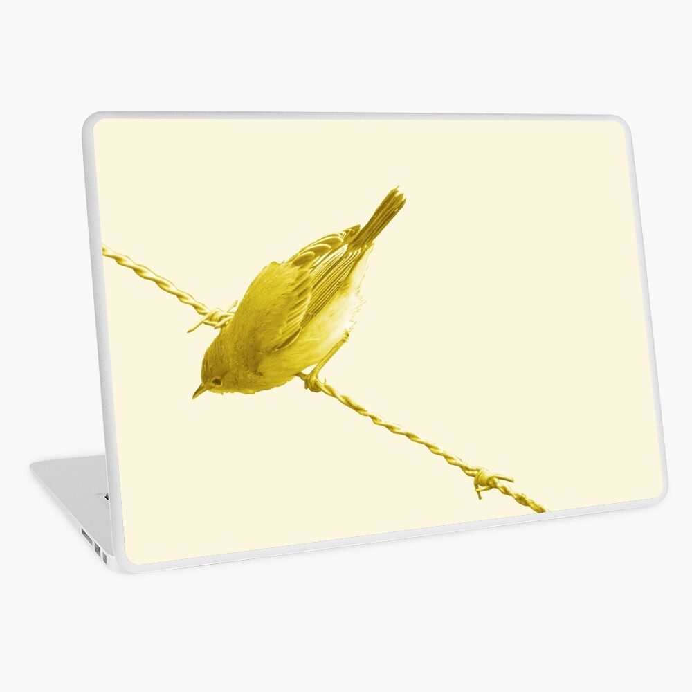 Monochrome - Yellow warblers on the wire Laptop Skin