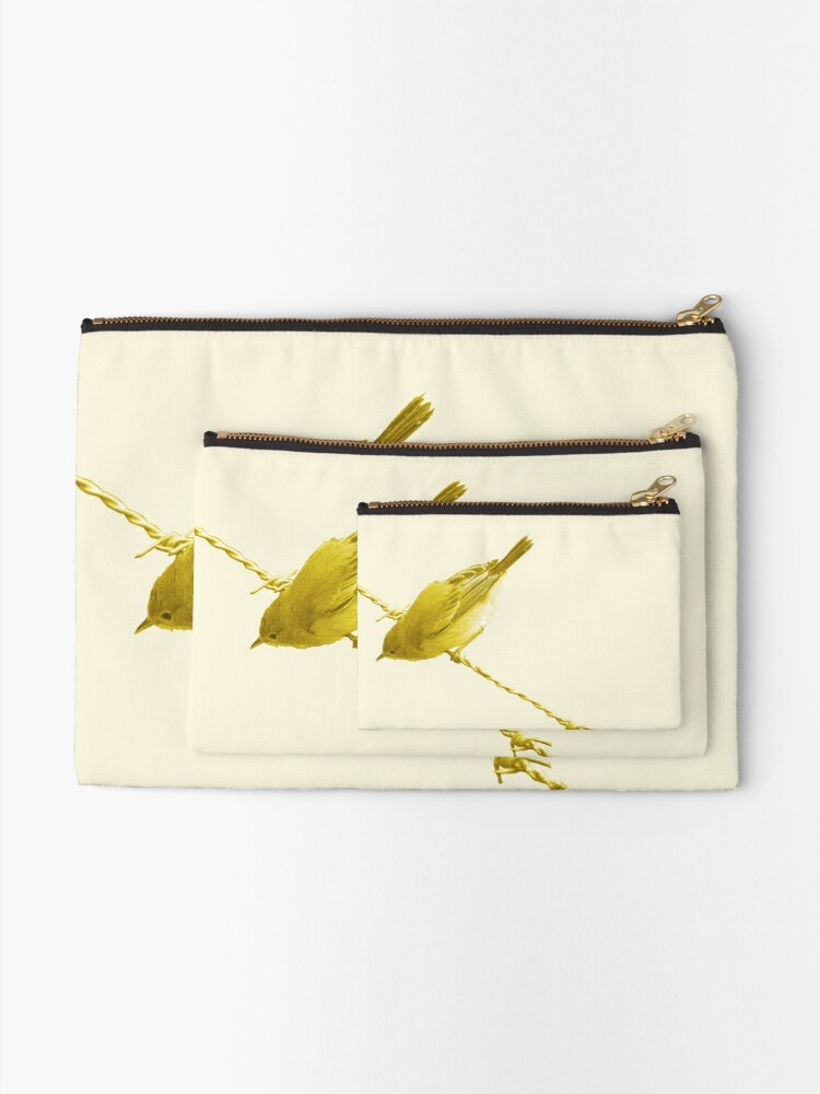 Alternate view of Monochrome - Yellow warblers on the wire Zipper Pouch