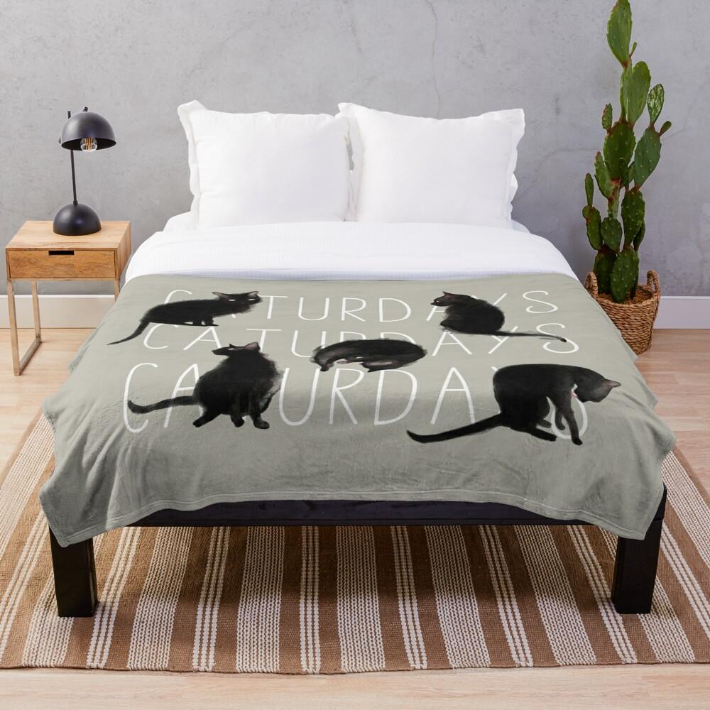 Caturdays - Black Cat Throw Blanket