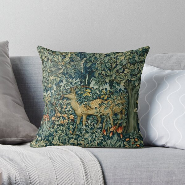 GREENERY,TWO DOES AND BIRDS IN FOREST Blue  Green Floral Tapestry Throw Pillow