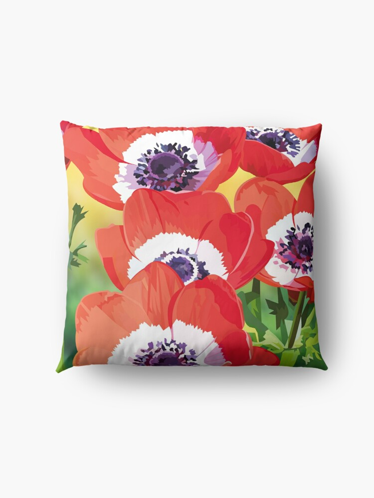 Alternate view of Red poppies Floor Pillow