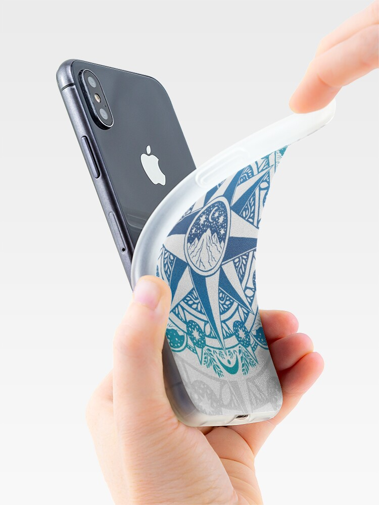Alternate view of Journey to Moon Mountain | Turquoise Navy Ombré iPhone Case & Cover