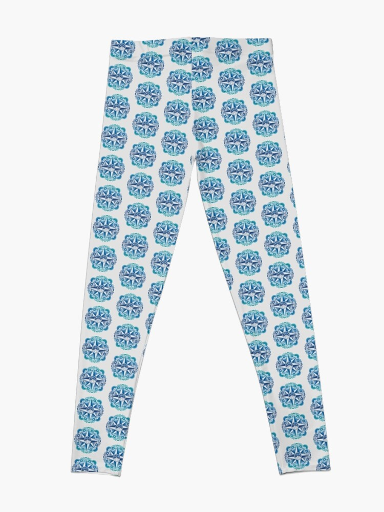 Alternate view of Journey to Moon Mountain | Turquoise Navy Ombré Leggings
