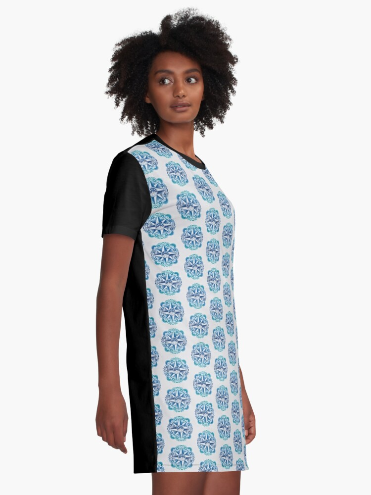 Alternate view of Journey to Moon Mountain | Turquoise Navy Ombré Graphic T-Shirt Dress