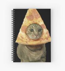Cat with Pizza Head Spiral Notebook