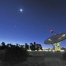 The Dish, Crescent Moon and Planets by Alex Cherney