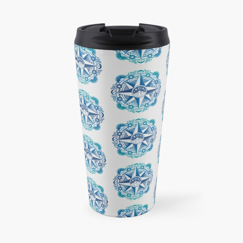 Journey to Moon Mountain   Turquoise Navy Ombré Travel Mug