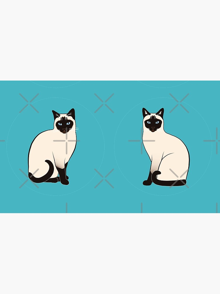 Siamese Cats in blue circles stickers by nadyanadya
