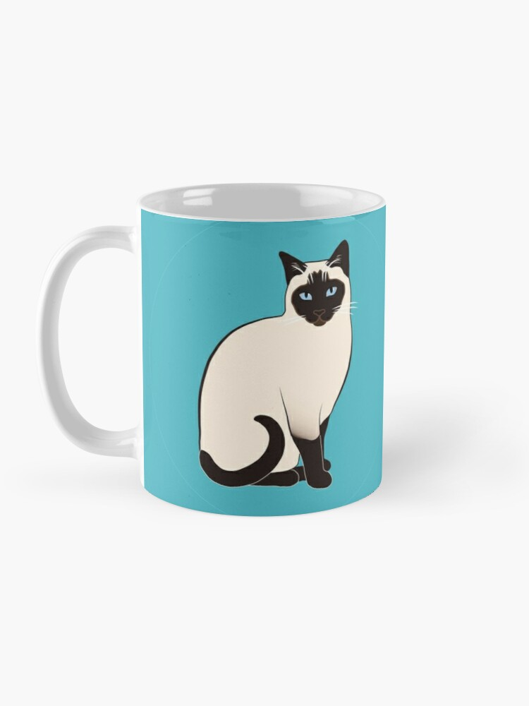 Alternate view of Siamese Cats in blue circles stickers Mug