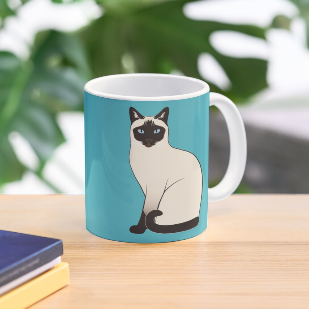 Siamese Cats in blue circles stickers Mug