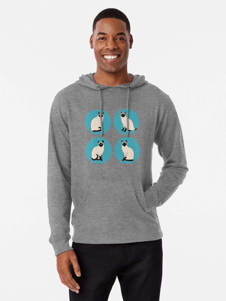 Alternate view of Siamese Cats in blue circles stickers Lightweight Hoodie
