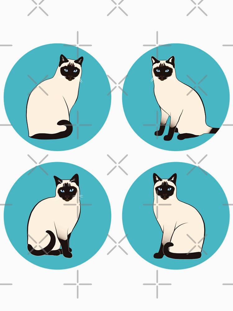 Siamese Cats in blue circles by nadyanadya