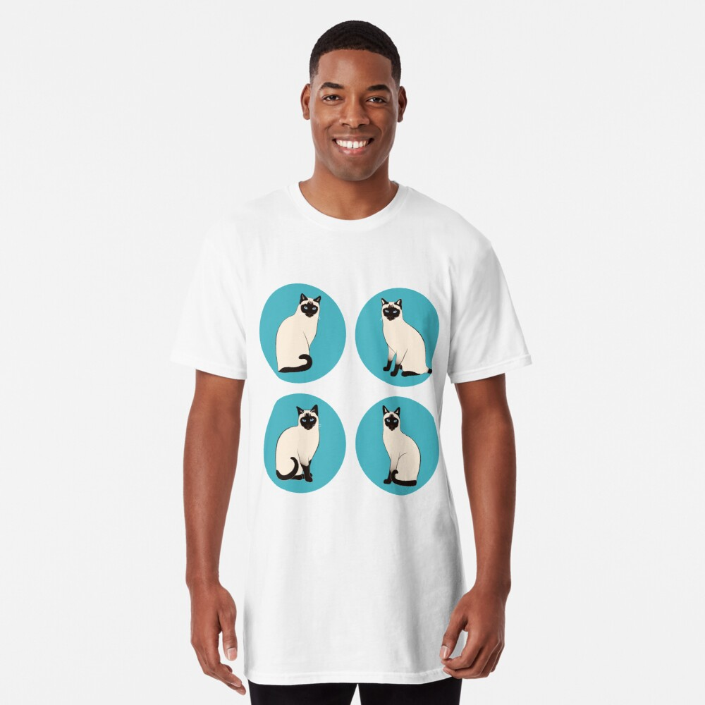 Siamese Cats in blue circles Long T-Shirt