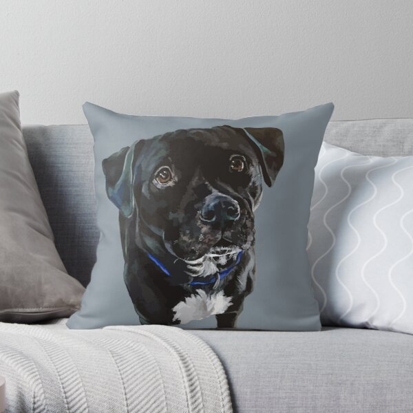 Pit-bull/Lab Mix - Digital no background Throw Pillow
