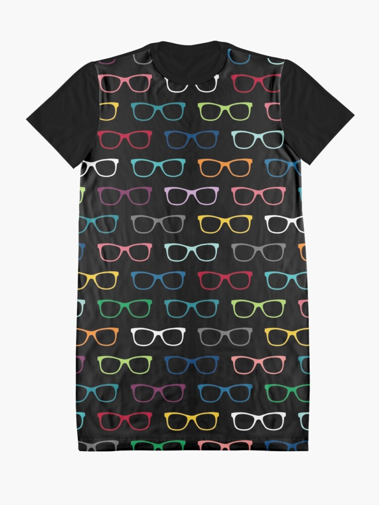 Alternate view of Colorful Hipster Eyeglasses Pattern Graphic T-Shirt Dress
